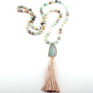 Amazonite  Tassel beaded necklace